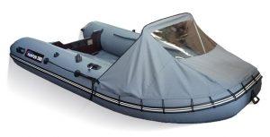 Носовой тент на лодку Хантер 360, 360А, 390А серый