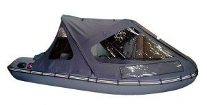 Фото тента трансформера на лодку Хантер 360 серый