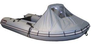 Фото носового тента на лодки Хантер 290 А, 310 А, 330 А серый