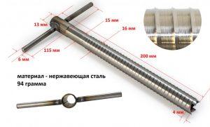Фото Ввертыш (неподвижная ручка, 16х1,5х200 мм)